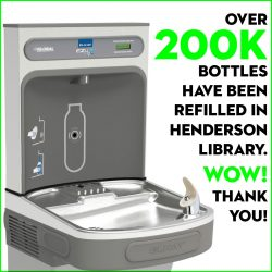 200K bottles refilled in Henderson Library's water bottle filling stations!
